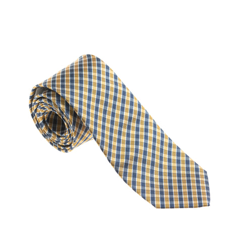 Brera Blue & Yellow Check Silk Tie