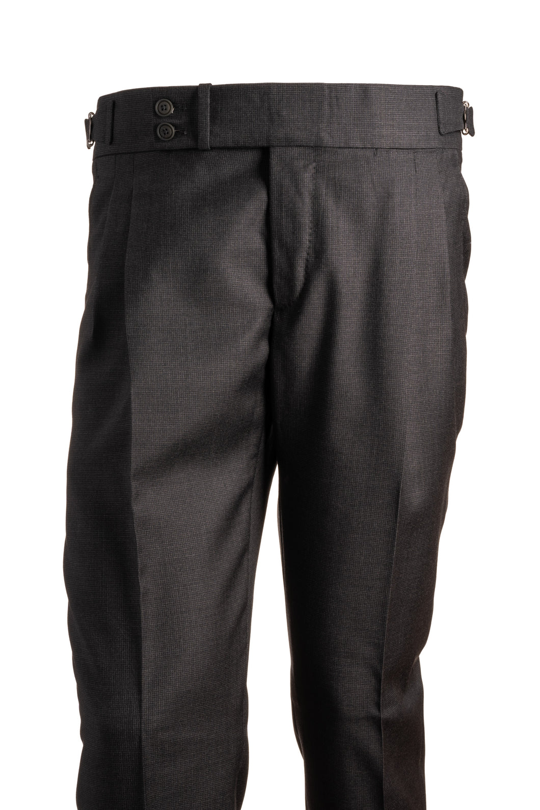 Candia Charcoal Grey Check Wool Trousers