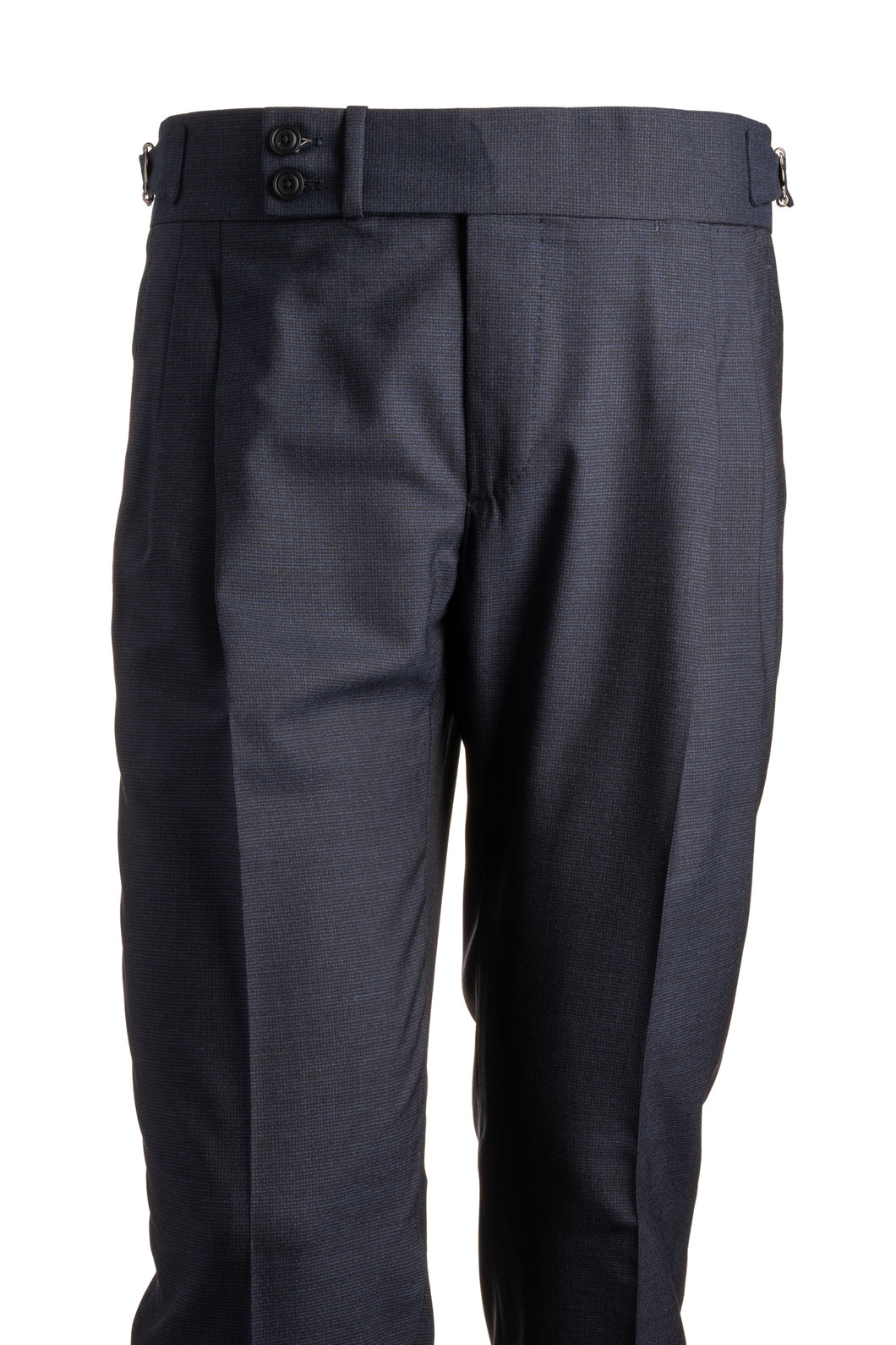 Candia Navy Blue Check Wool Trousers