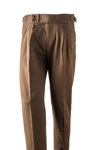 Brown cotton twill men's trousers with side adjusters and sartorial details