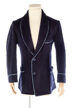 Navy Blue Wool Men's Smoking Jacket handmade by Christakis Athens