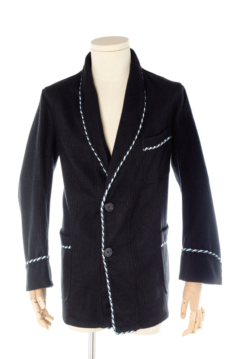 Blue Check Wool Men's Smoking Jacket handmade by Christakis Athens