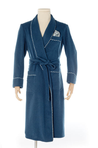 Royal Blue Wool Men's Dressing Gown handmade by Christakis Athens