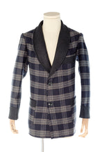 Blue & Grey Wool Men's Smoking Jacket handmade by Christakis Athens