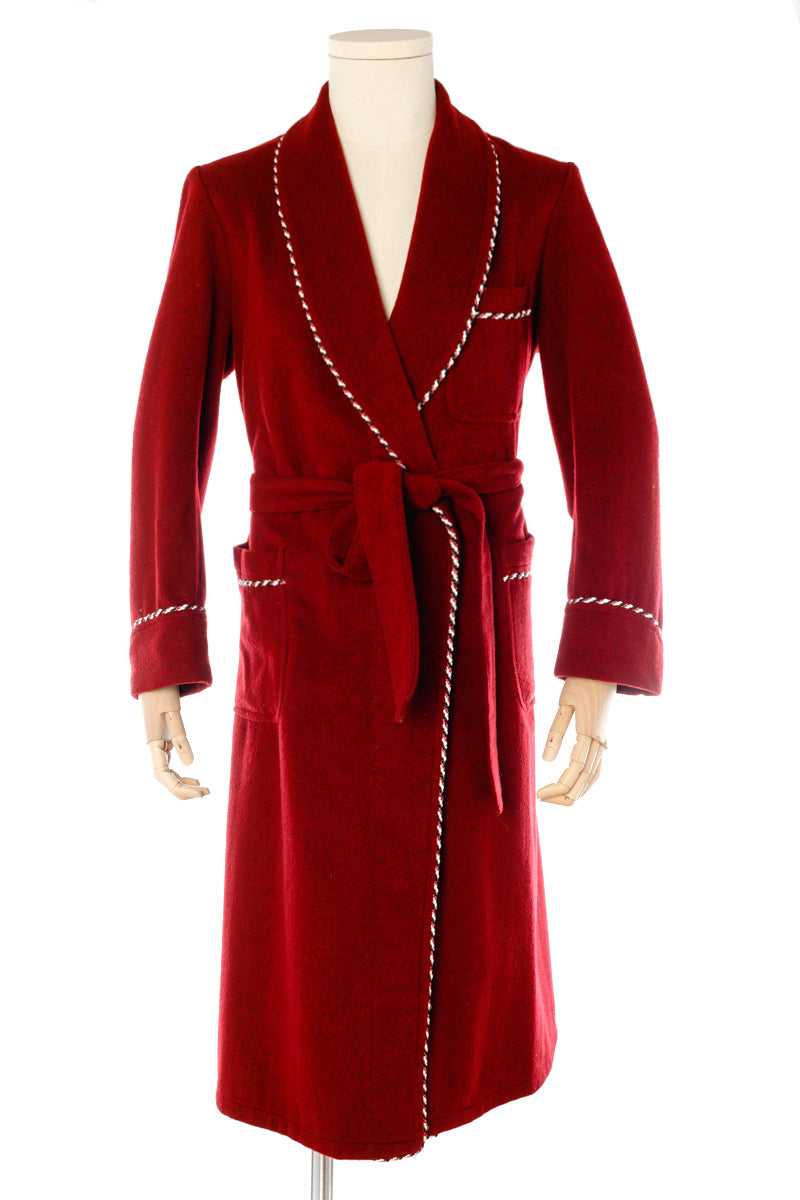 Burgundy Wool Men's Dressing Gown handmade by Christakis Athens