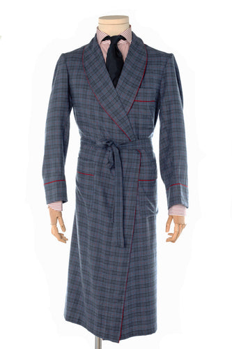 Windsor Blue Check Cotton Dressing Gown