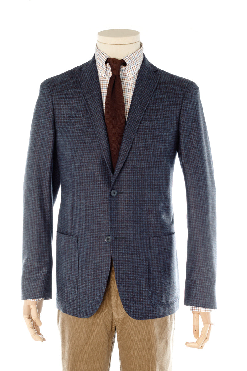Blue & Brown Flannel soft tailored jacket with side pockets