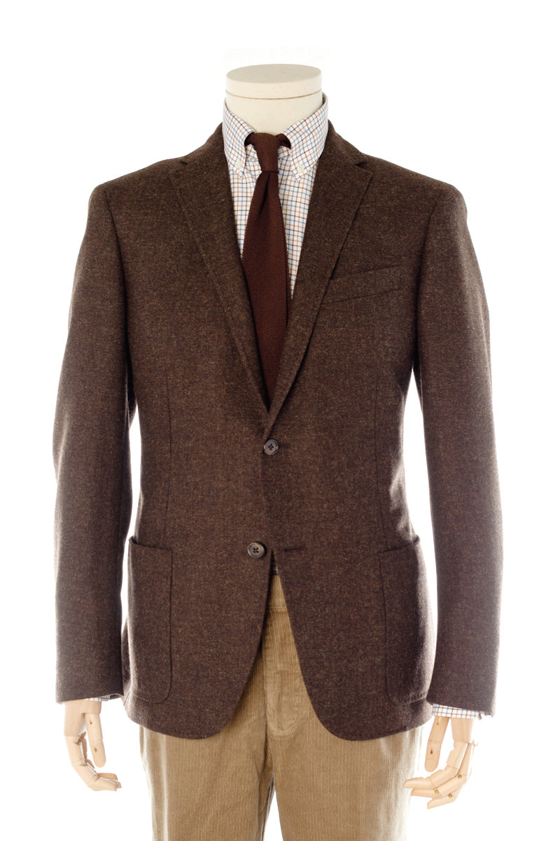 Brown Flannel soft tailored jacket with side pockets
