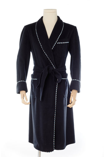 Navy Blue Wool Men's Dressing Gown handmade by Christakis Athens