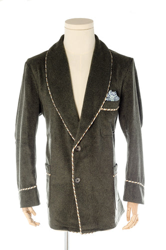 Olive Wool Men's Smoking Jacket handmade by Christakis Athens