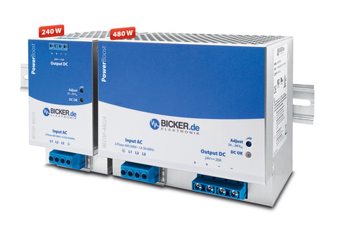 BED3P-24024 and BED3P-48024, DIN-Rail power supplies for industrial applications