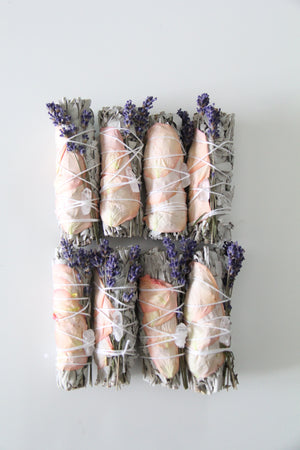 Rose Crystal Smudge Stick