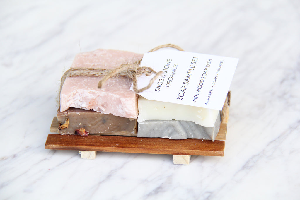 Soap Sample Set & Wood Soap Dish