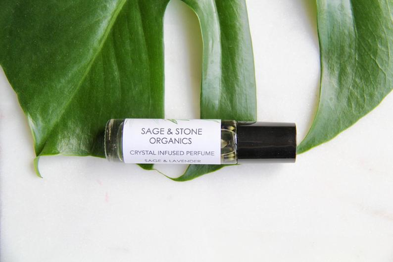Sage & Lavender Crystal Infused Essential Oil Roll On