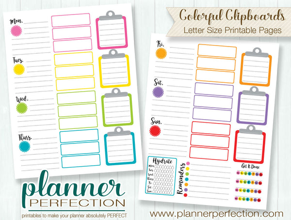 Letter Size Planner Pages - Colorful