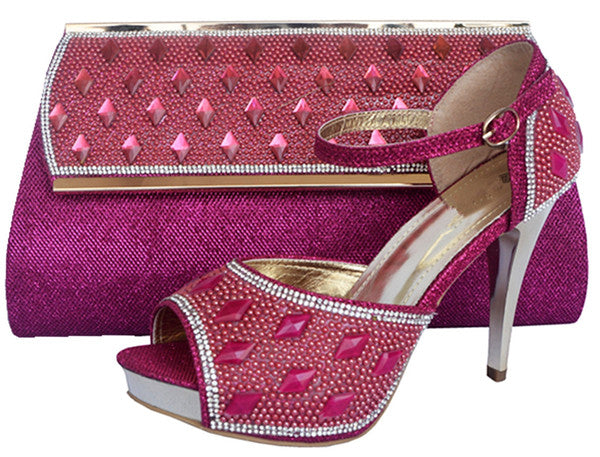 2017 Crystal Shoes And Matching Bag High Quality High Heels Fashion