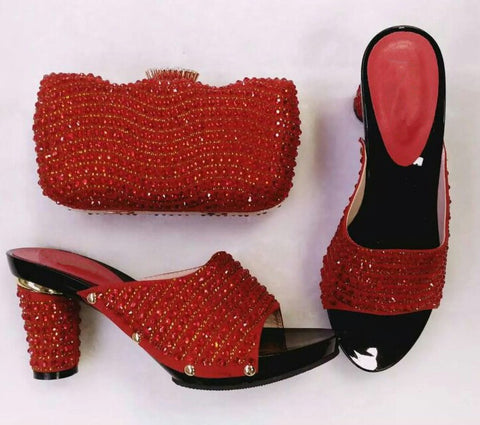 2017 Fashion Italian Shoes With Matching Bags For Party, High Quality Set