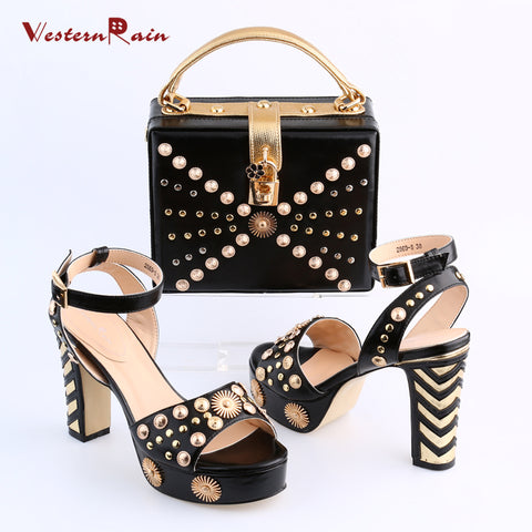 Women High Heel Italian Shoe With Matching Bag Set Hot Sale!!