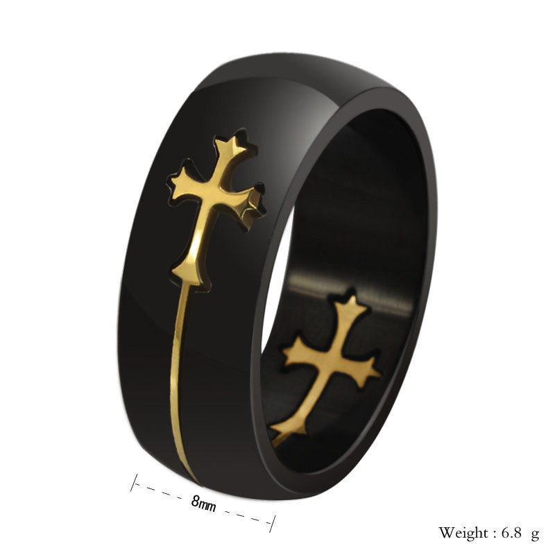 New Fashion Hot Sale Cross Design Stainless Steel Men's  Ring