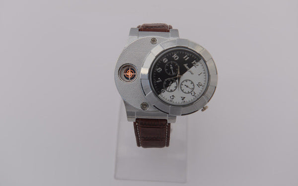 Fashion Rechargeable USB Lighter Men's Casual Quartz Wristwatches Windproof Flameless  Lighter