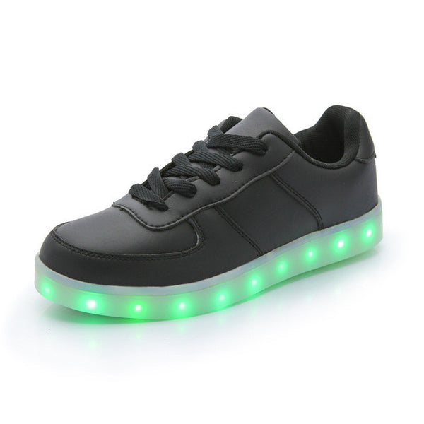 spring new shoes with led lights boys and girls leather waterproof black USB light up sneakers
