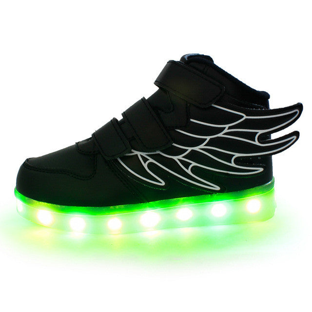 Spring 2017 new fashion wings shine led USB charging for boys and girls sneakers