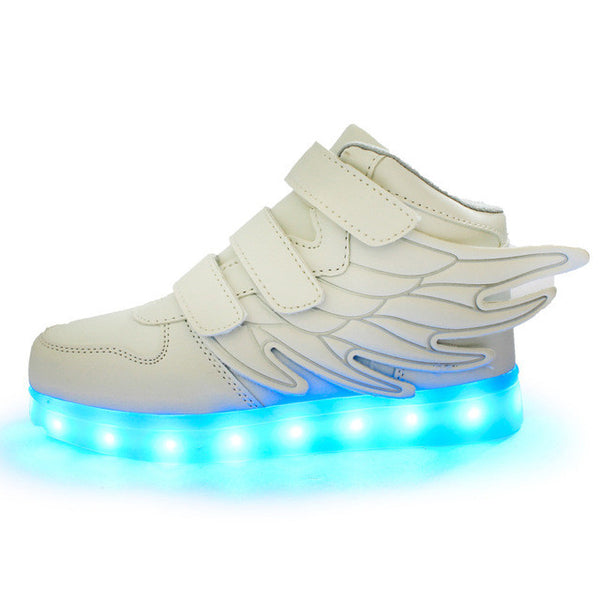 2017 new fashion wings shine led USB charging for boys and girls sneakers