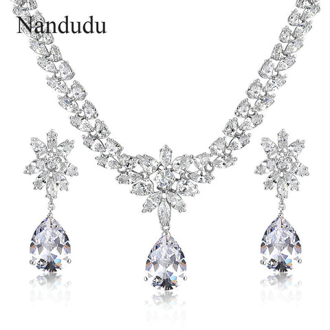 Cubic Zirconia Necklace Earrings Wedding Jewelry Set Bride Bridesmaid Fashion Jewelry Gift CN156
