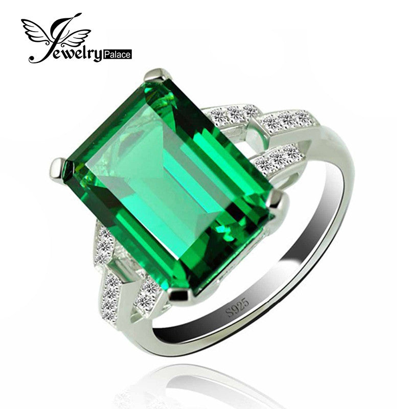 5.9ct Created Emerald Cocktail Ring 925 Sterling Silver Rings for Women Fine Jewelry