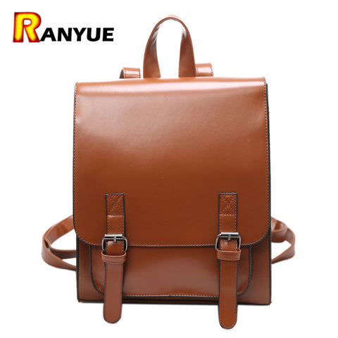 2017 Backpack Women Backpacks Solid Vintage High Quality PU Leather