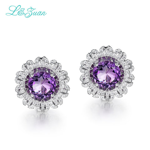 5.96ct Natural Amethyst Purple Stone For Women Fine Jewelry 925 Sterling Silver Earring