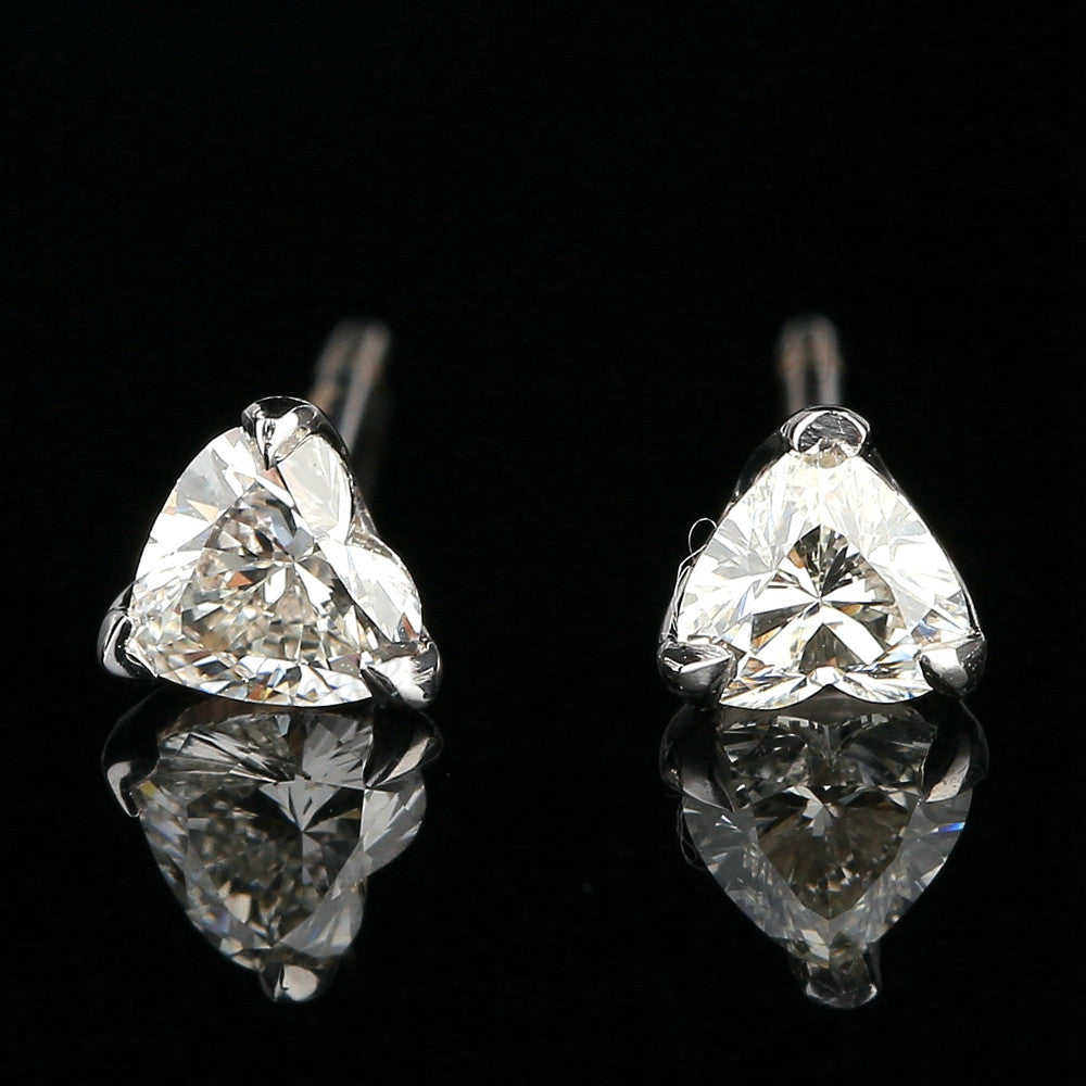 Solid 14k White Gold VS/H Natural Cubic Ziconia Heart Shape Cut Earrings