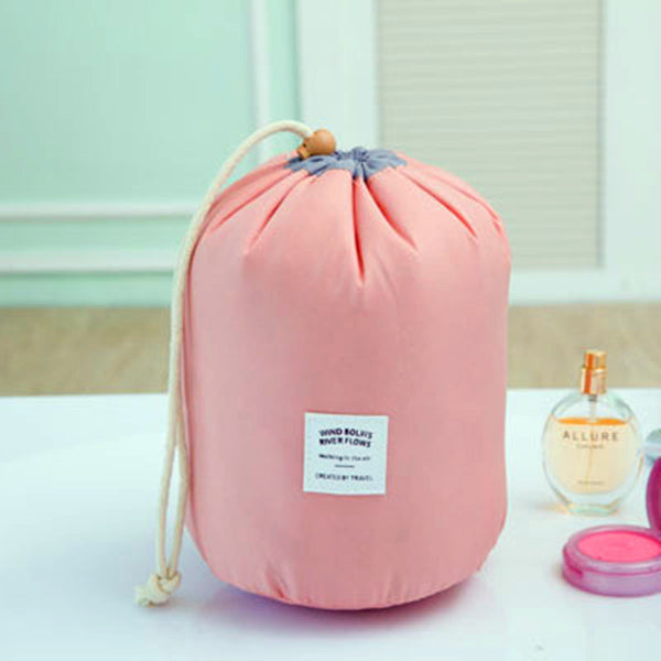 Cylindrical Waterproof Nylon Cosmetic Bag