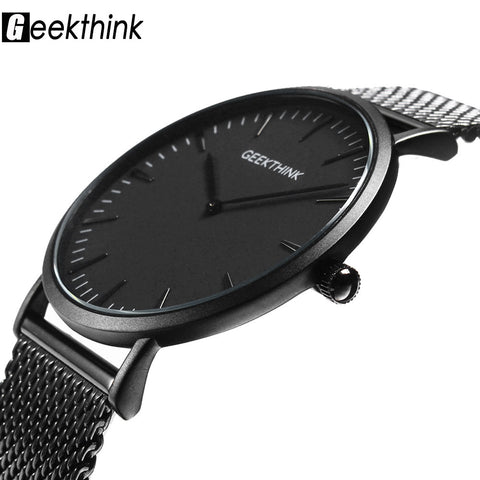 Luxury Quartz Casual men Black stainless steel Mesh strap ultra thin