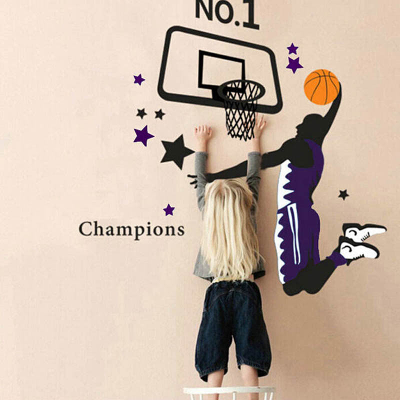 Hot!! Basketball Dunk Sports 3D Wall Stickers Home Decoration