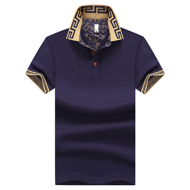 Men's Polo Shirt Fashion Cotton Slim Fit Top Casual Plus Size M-5XL