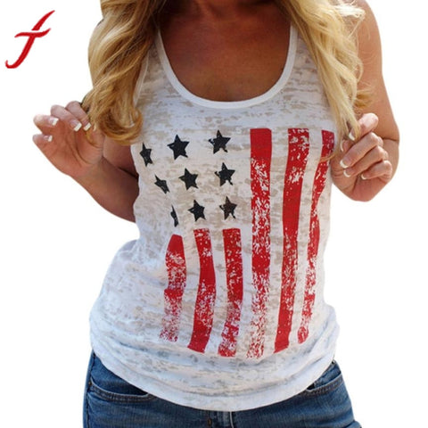 Women's Summer Printing US Flag Casual Tank Tops High Quality