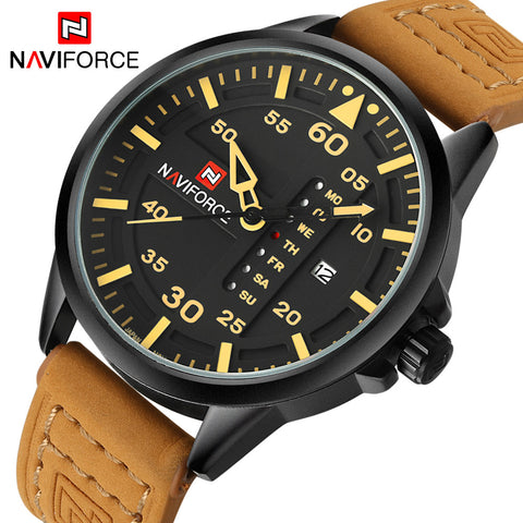 NAVIFORCE Men Sports Quartz Date Leather Army Military Wrist Watch