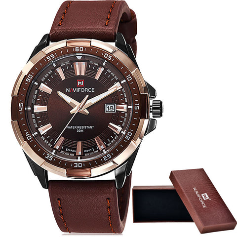 NAVIFORCE Brand Men's Fashion Casual Sport Watch Waterproof Leather Quartz