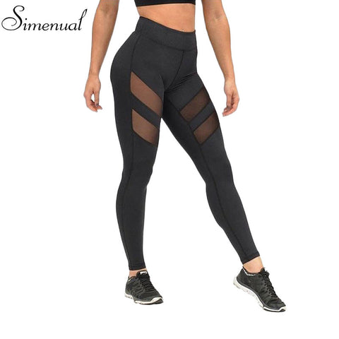 Athleisure leggings for women mesh splice fitness slim black pants plus size sportswear