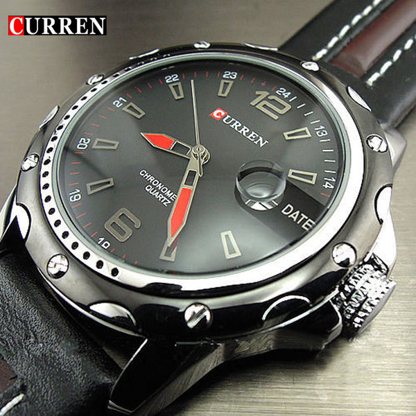 NEW FASHION CURREN MEN'S DATE BLACK BROWN LEATHER STRAPS QUARTZ WATCH