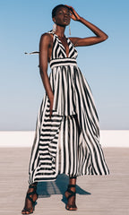 Stripe Maxi Halter Dress