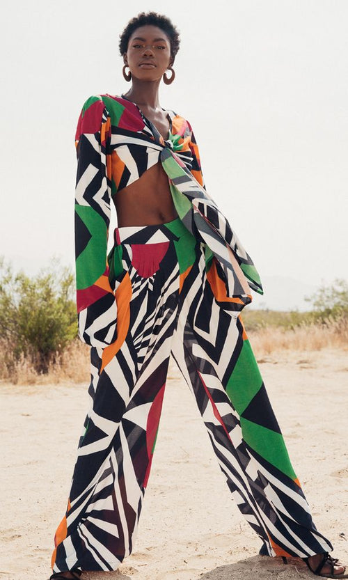 High Waist Wide Leg Pant  | Multi Geo