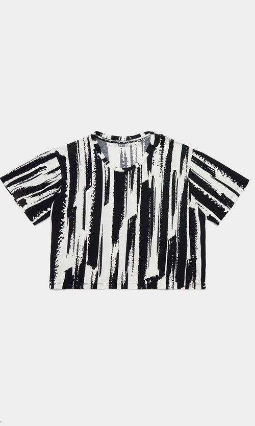 Cropped T-shirt | Brush Stroke