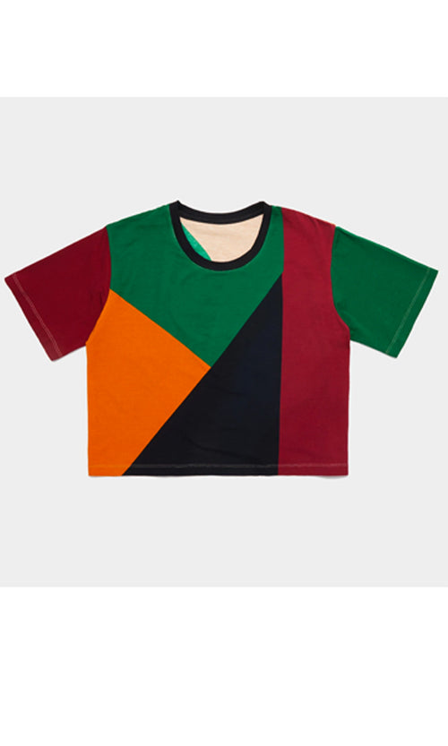 Cropped T-shirt | Placement Colorblock