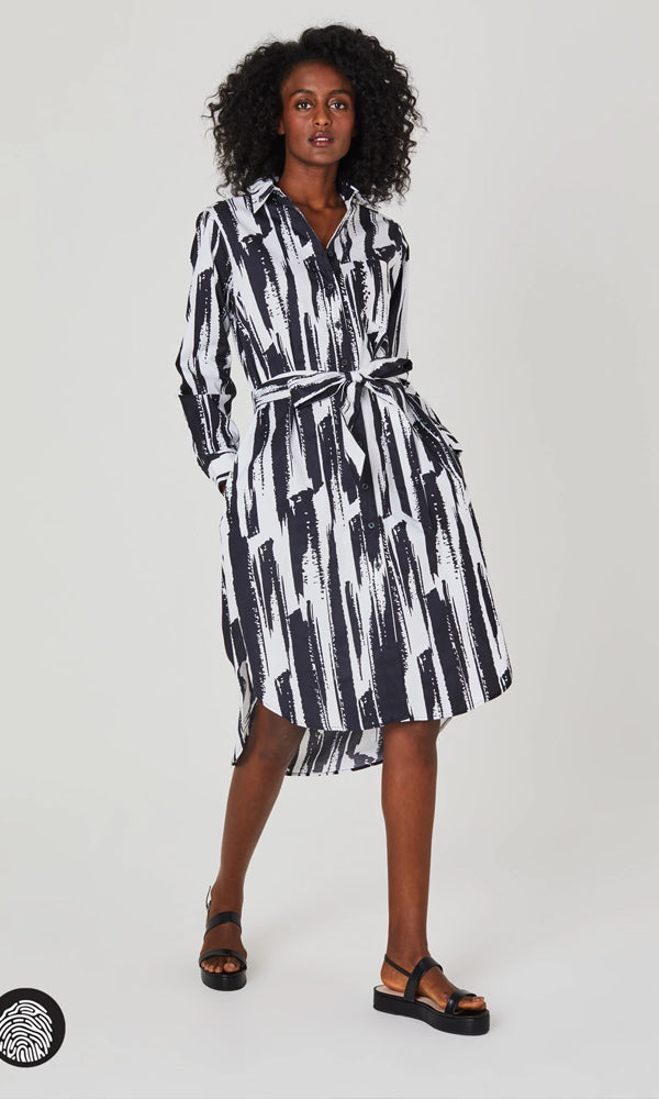 Long Sleeve Shirt Dress  | Brush Stroke