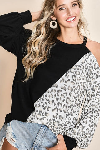 LEOPARD/SOLID ONE SHOULDER TOP - BLACK
