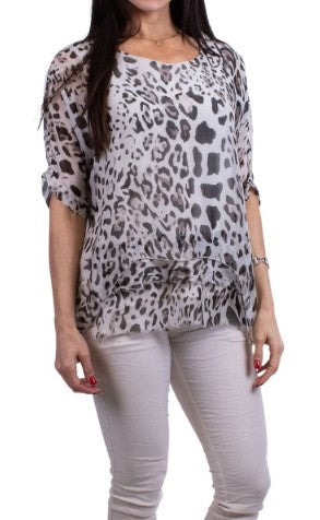 Animal Print Silk Kaftan Top w/ Raw Edge