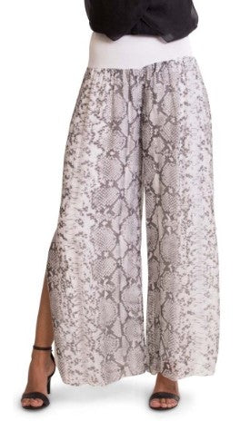 Snake Print Silk Side Slit Pant