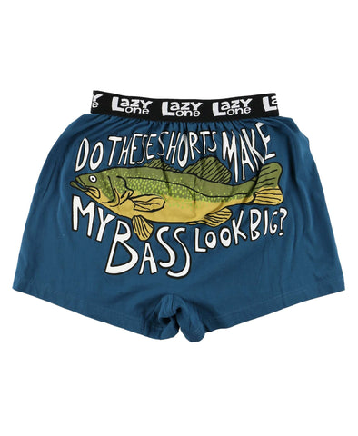 Lazy One Men's Funny Boxers - Do These Shorts Make My Bass Look Big?